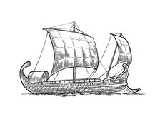 Trirreme que flota en las ondas del mar ejemplo del grabado del intage stock de ilustración
