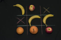 Tris Game with fruit Stock Photos