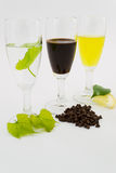 Tris grappa liquor, chocolate and limoncello Royalty Free Stock Image