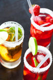 Tris Of Ice Tea - Strawberry, Lime, Etc... Royalty Free Stock Photo