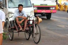 Trishaw drivers in Yangon, Royalty Free Stock Photos