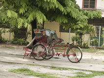 Trishaw in George Town. Trishaw in Penang Malaysia color photograph Royalty Free Stock Image