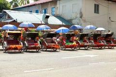 Trishaw i Penang, Malaysia arkivfoto