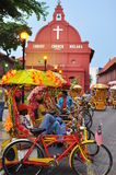 Trishaw peddler in Melaka stock photography