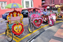 Trishaw in the Street of Melaka Royalty Free Stock Photo