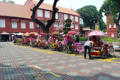 Trishaws in the street of melaka Royalty Free Stock Image