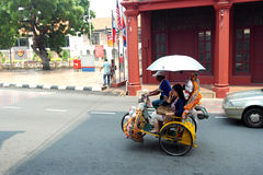Trishaws in the street of melaka Royalty Free Stock Images