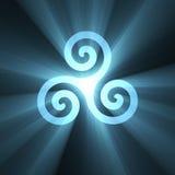 Triskelion spiralsymbol med den ljusa signalljuset royaltyfri illustrationer