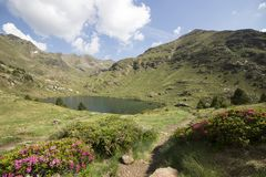 Tristaina lakes in Pyrenees, Andorra stock image