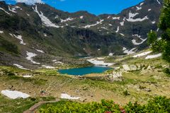 Tristaina high mountain lakes in Pyrenees, Andorra. stock photography