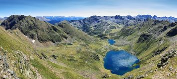 Tristaina high mountain lakes in Pyrenees stock image