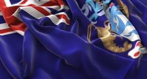 Tristan da Cunha Flag Ruffled Beautifully che ondeggia macro primo piano Fotografie Stock