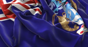 Tristan da Cunha Flag Ruffled Beautifully ondulant le macro plan rapproché Photos stock