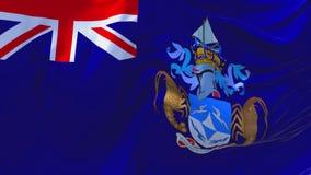 Tristan da Cunha Flag Waving en fondo inconsútil continuo del lazo del viento stock de ilustración