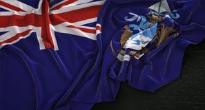 Tristan da Cunha Flag Wrinkled On framför mörk bakgrund 3D Vektor Illustrationer