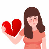 Triste malheureux rouge de fille plate du coeur brisé ou de divorce de immense chagrin Photographie stock libre de droits