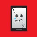 Triste rotto carattere del telefono Fotografie Stock