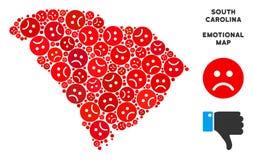 Tristesse Carolina State Map Collage du sud de vecteur des smiley tristes illustration libre de droits