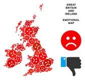 Tristesse Grande-Bretagne de vecteur et collage de carte de l'Irlande d'Emojis triste illustration de vecteur