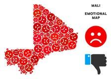 Tristesse Mali Map Mosaic de vecteur des smiley tristes illustration stock
