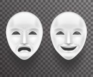 Tristeza de teatro de la máscara y mofa realista antigua del fondo de la plantilla del icono de Joy White Actor Play Face 3d Tran Fotografía de archivo