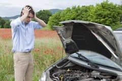 Tristeza del coche de la ruptura Foto de archivo