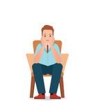 Tristezza ansiosa e sforzo di sensibilità dell'uomo che si siedono sulla sedia royalty illustrazione gratis