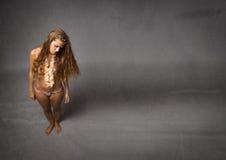 Tristezza della donna della spiaggia Fotografie Stock Libere da Diritti