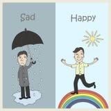 Tristezza e gioia illustrazione di stock