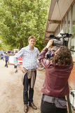 Tristram Hunt Labour MP and Shadow Minister for Education talking to camera woman Royalty Free Stock Image