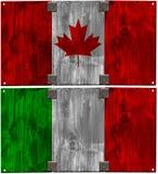 Träitalienare- och kanadensareflaggor Royaltyfria Foton