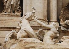 Triton Calming Horse Statue, Trevi Fountain Stock Images