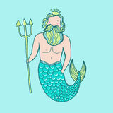 Triton in a crown with a trident. Vector illuss=tration Stock Images