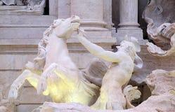 Triton en Gevleugeld Paard op de Trevi Fontein in Rome Royalty-vrije Stock Foto's