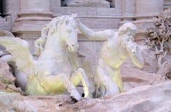 Triton en Gevleugeld Paard op de Trevi Fontein in Rome Royalty-vrije Stock Foto