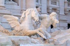 Triton en Gevleugeld Paard op de Trevi Fontein in Rome Stock Afbeeldingen