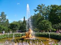 Triton fontanna w oranżeria ogródzie Peterhof, StPetersburg, Rosja zdjęcia royalty free