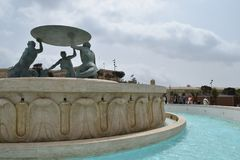Triton-fontein in centrum van Valletta, hoofdstad van Malta Royalty-vrije Stock Foto's