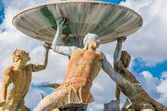 Triton Fountain detail, Malta Stock Images