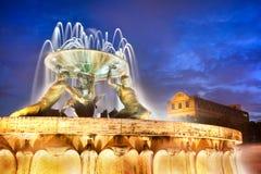 The Triton Fountain at the entrance of Valletta, Malta. The Triton Fountain at the entrance of Valletta at night, Malta Stock Image