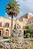 The Triton fountain in Monreale. The scenic Triton fountain, located in square of Guglielmo II, in front of Monreale Cathedral, Sicily, Italy stock image
