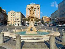 Triton Fountain Piazza Barberini downtown Royalty Free Stock Images
