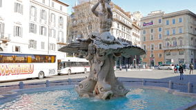 Triton fountain, Piazza Barberini. Rome, Italy - stock video