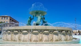 Triton fountain after restoration located at the gate of Valletta Malta. Triton fountain after restoration located at the gate of the capital Valletta Malta Royalty Free Stock Image
