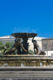 Malta, Views of Floriana. Triton Fountain - the 20th century work by the Maltese sculptor Vincent Apap (1959), situated just outside the historical walls of Stock Image