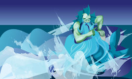 Triton, god. Man with fish tail, color illustration Royalty Free Stock Image