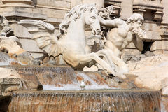 Detail of Fontana di Trevi, Rome, Italy. Triton Guiding the Horse of Neptune at the Trevi Fountain. This Fountain, finished in 1762, is the largest Baroque Stock Photography