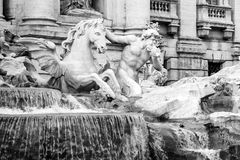 Triton with the horse calm statue at The Trevi Fountain. Represent the moments of the sea sometimes calm. Black and white tone Royalty Free Stock Images