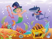 Triton met haai met achtergrond royalty-vrije illustratie