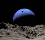 Triton's shadow. From Neptune's small Proteus. Rare event of the april 24 2036 Royalty Free Stock Image